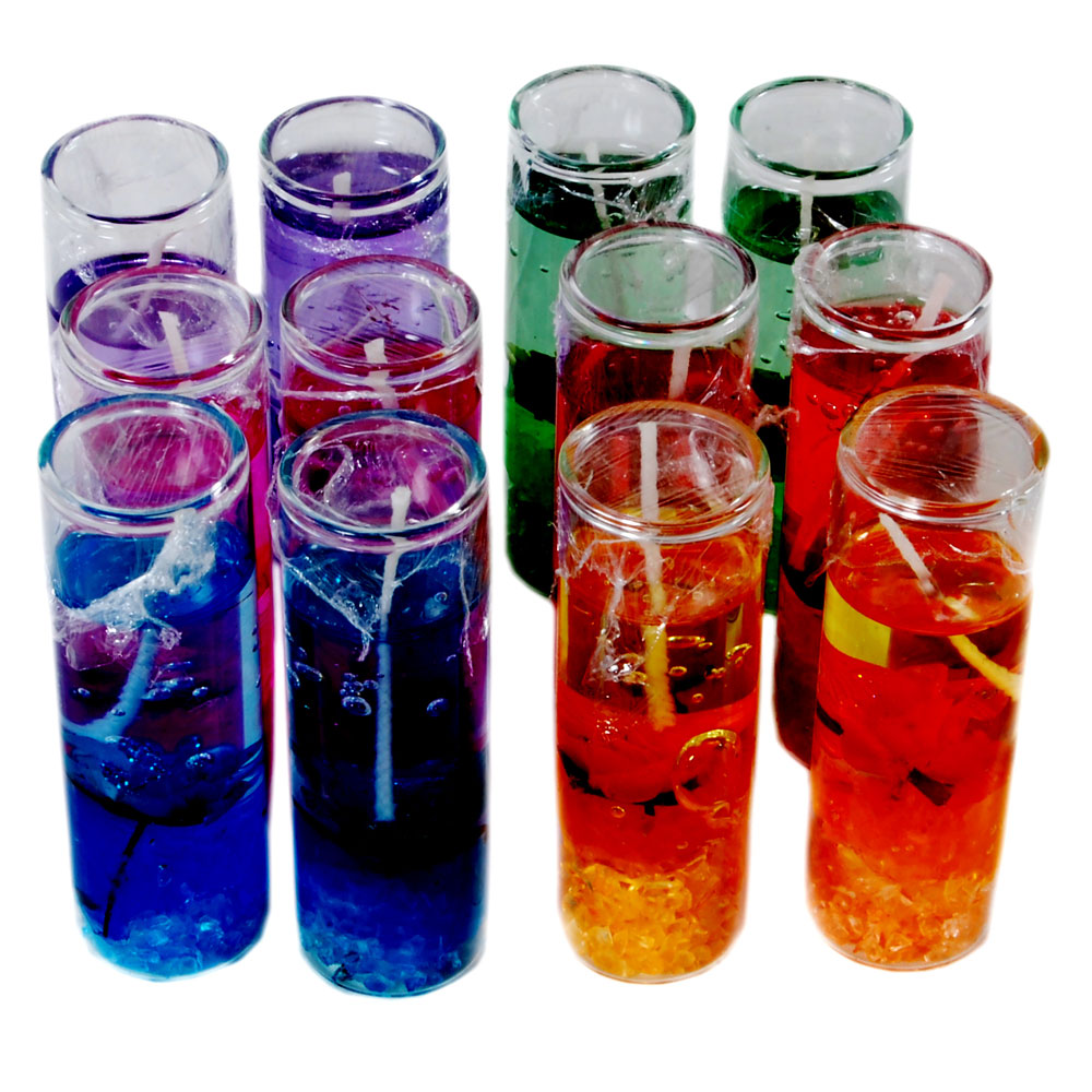 12 piece perfumed gel candles in glass