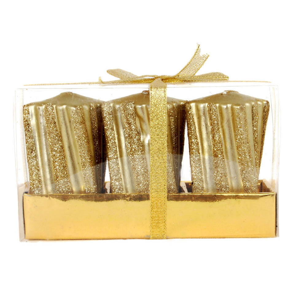 3 piece golden wrapped designer candles