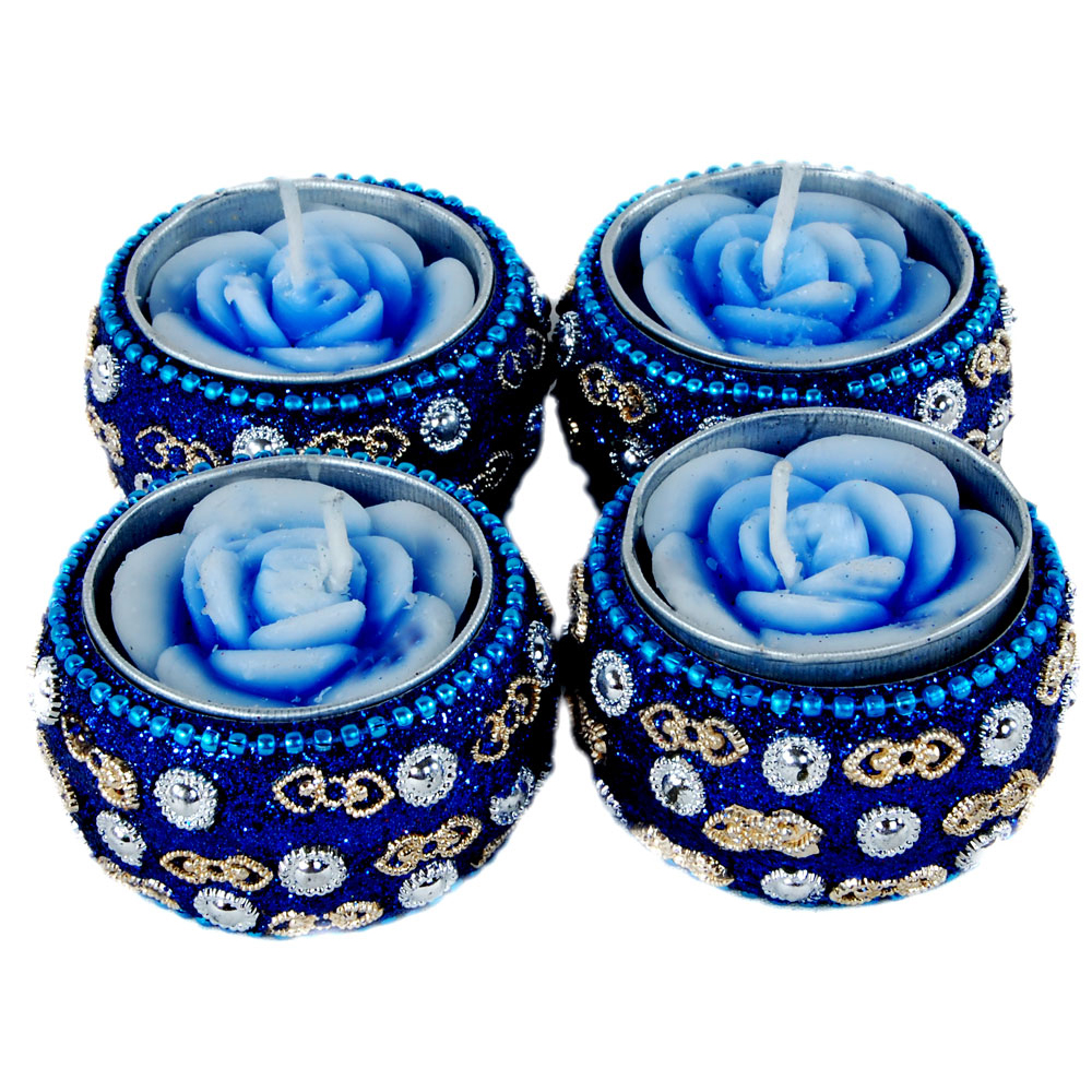 4 Piece Beads Work Diya Candles
