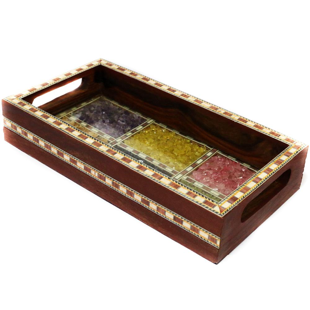 Antique Wooden Tray in Dark Brown