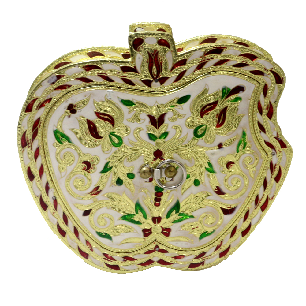 Apple shaped awesome wooden box with meeankari work