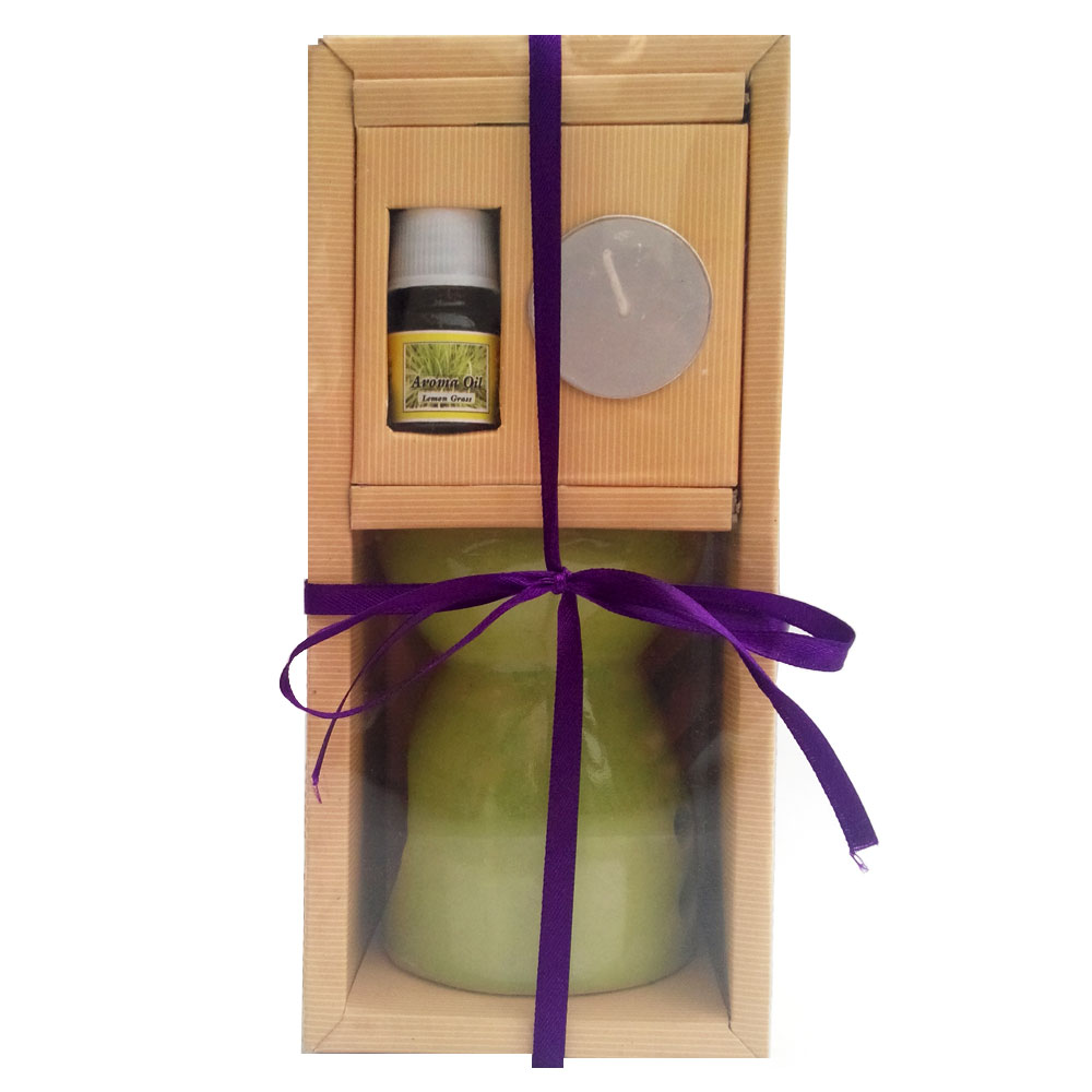 Aroma oil & burner with wax t-lite candle hamper