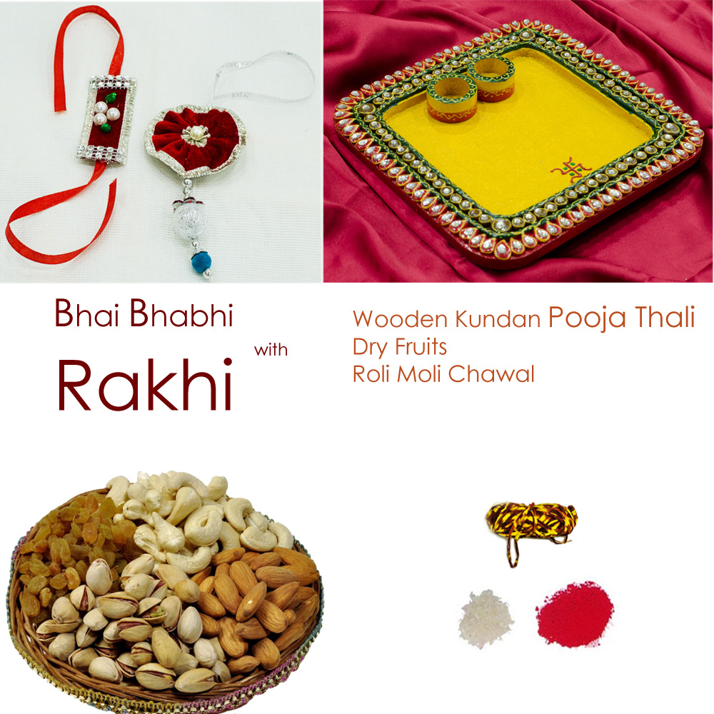 Authentic wooden kundan pooja thali with Pair rakhi