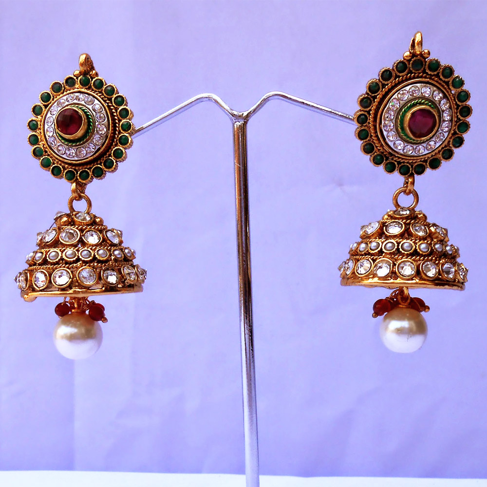 Beaded red & green jhumka earrings