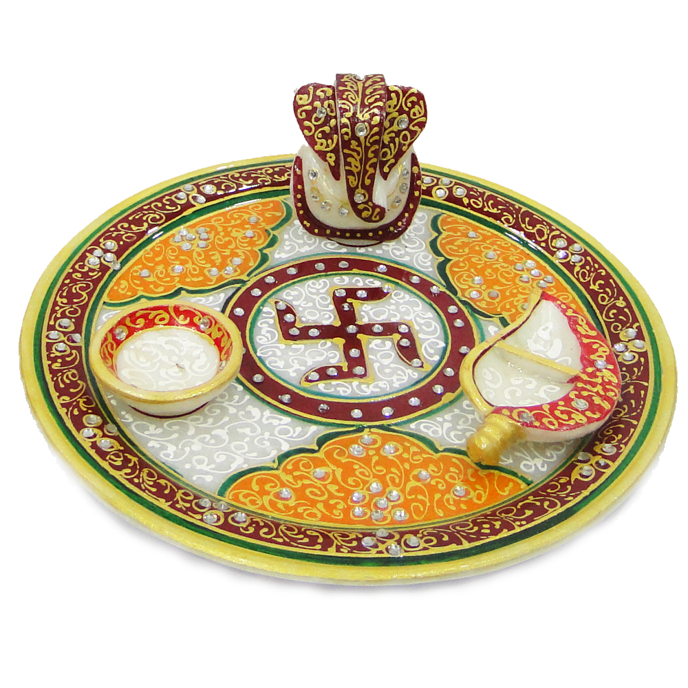 Beautifully decorated marble pooja thali with chopra