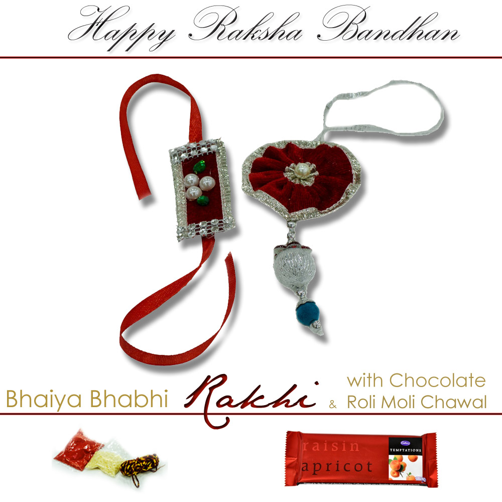 Bhaiya bhabhi rakhi with chocolate