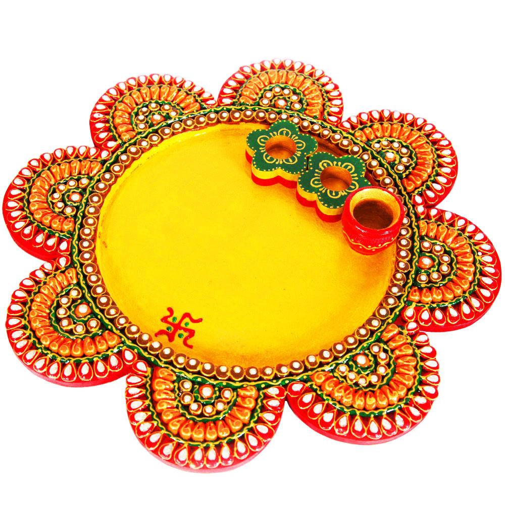 Flower engraved pooja plate