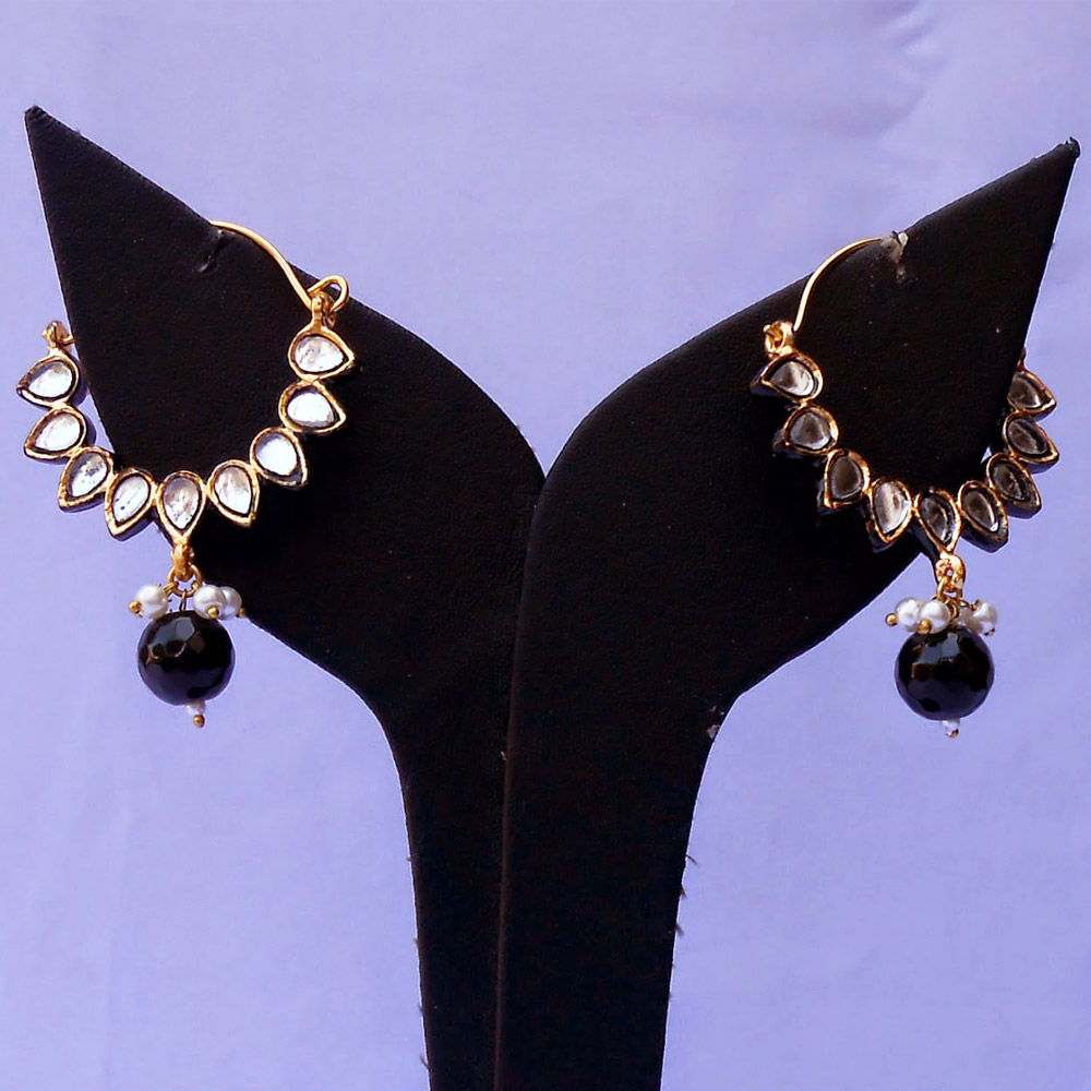 Black kundan bali earrings