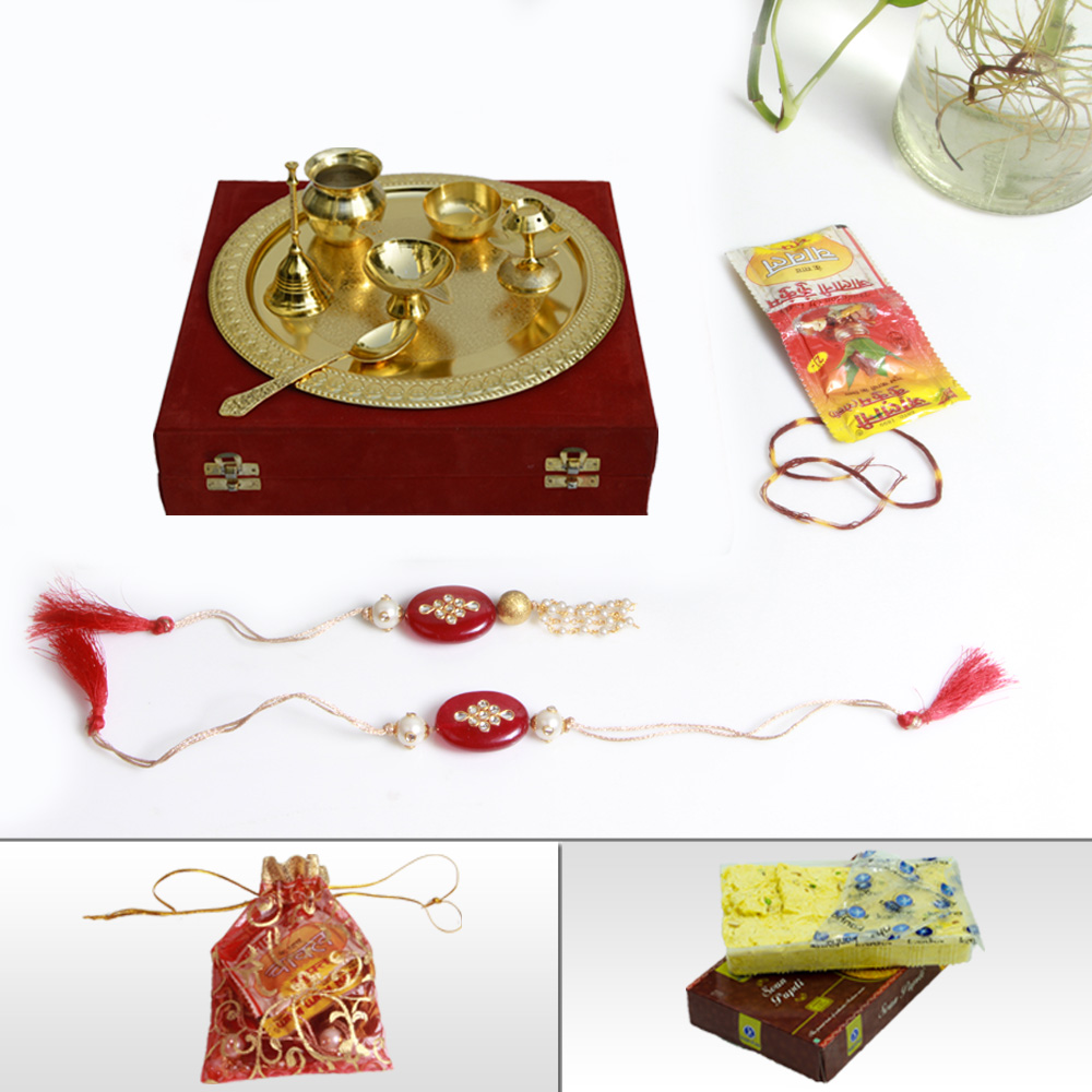 Online Rakhi & Lumba Shopping With Golden Pooja Thali & Sweets and chocolates