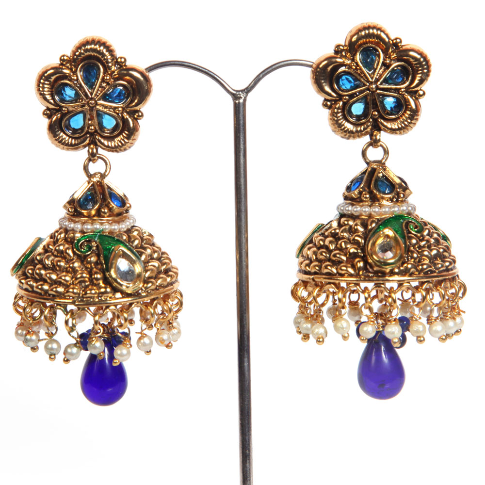 Blue beaded jhumki
