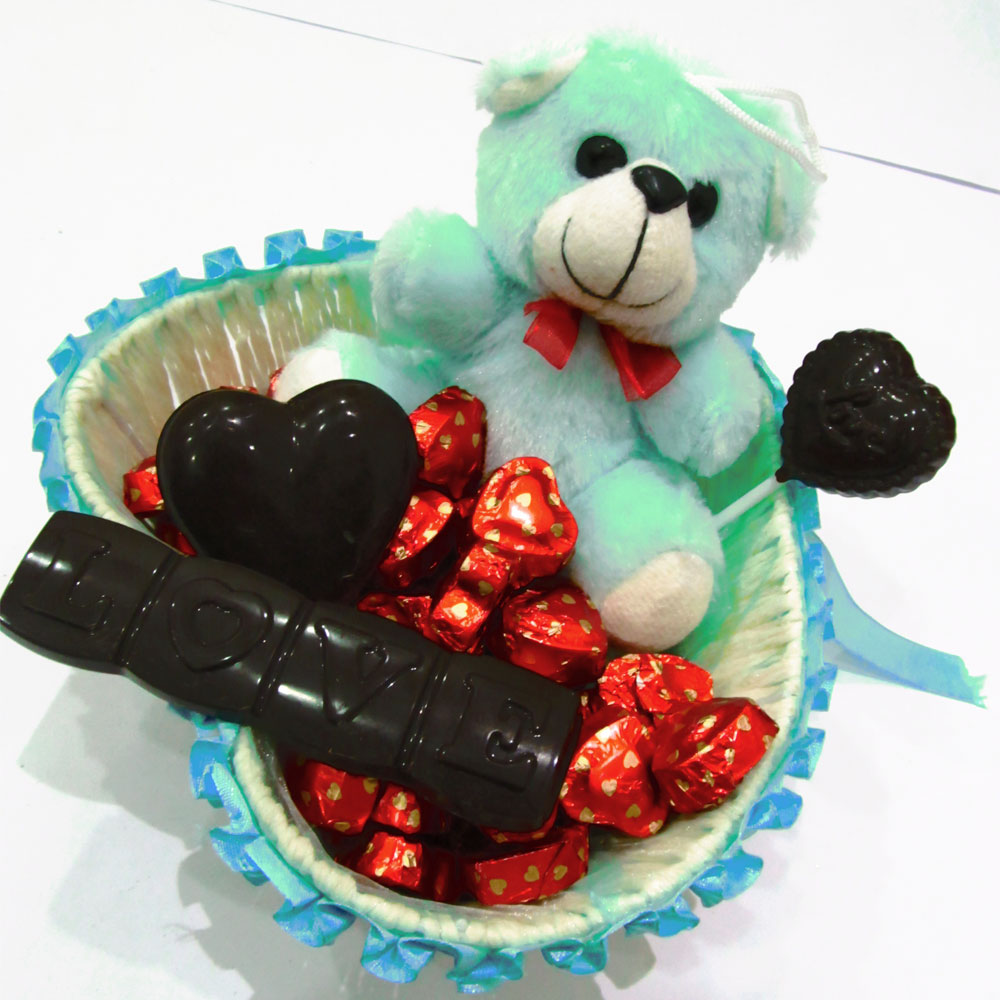Chocolate blue basket with teddy