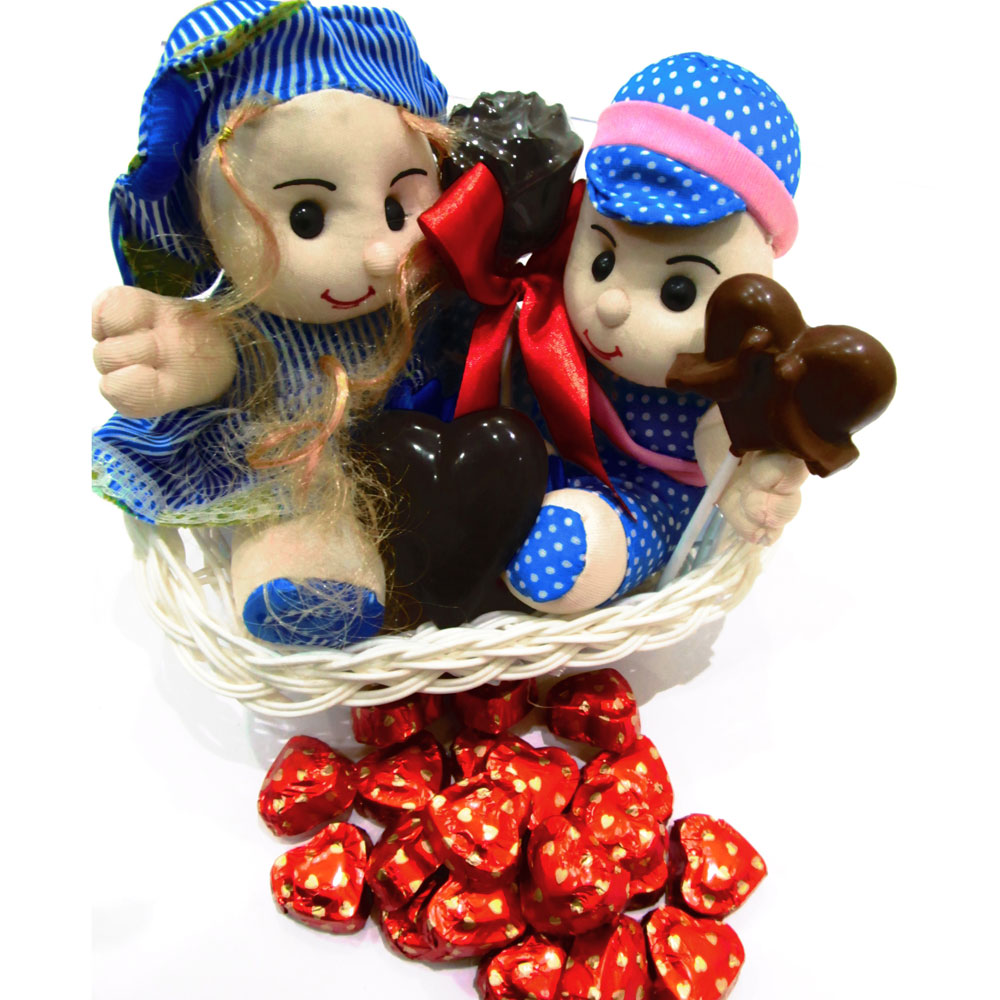 Chocolate blue basket with twin teddy