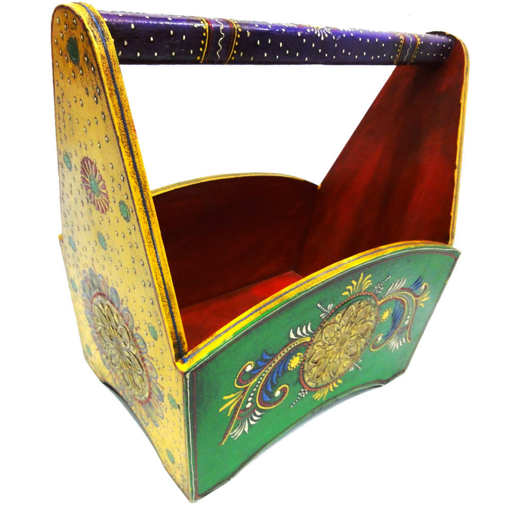 Colorful magazine holder crafted in wood