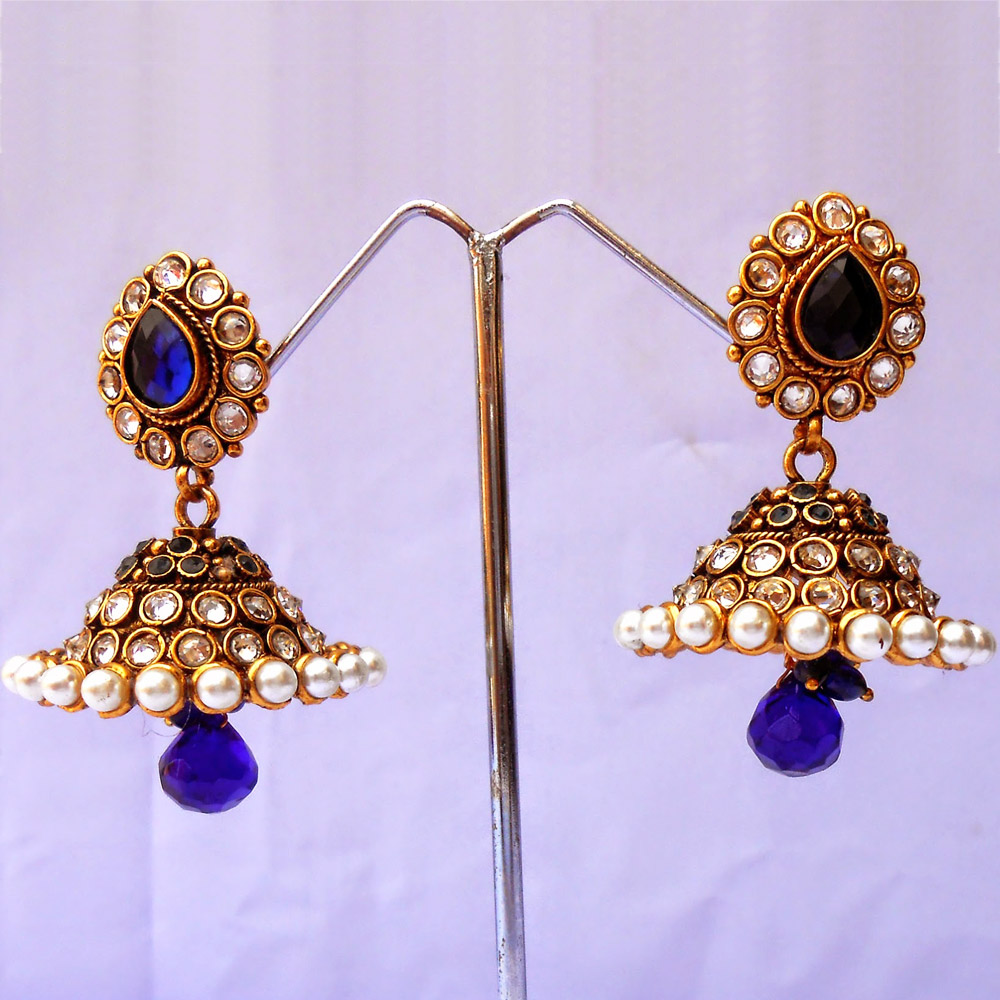 Crafted blue jhumka earrings