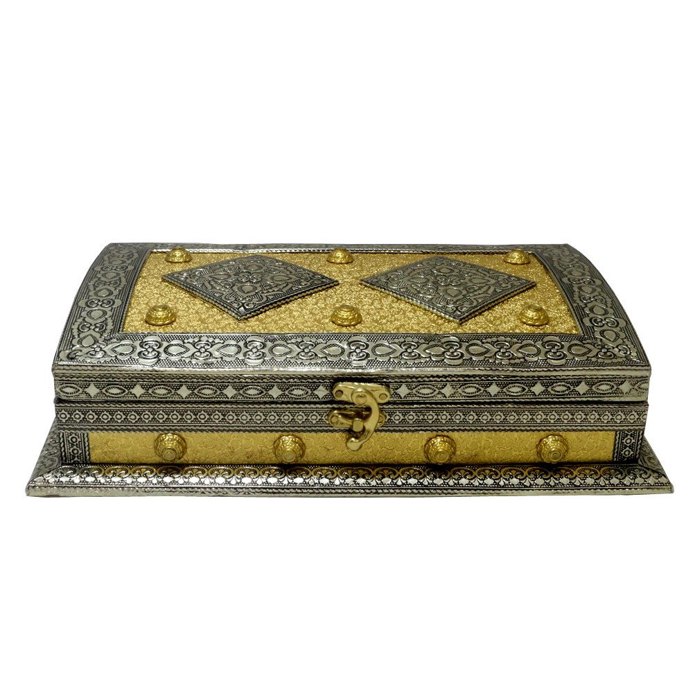 Crafted wooden dry fruit box designed with resin & brass