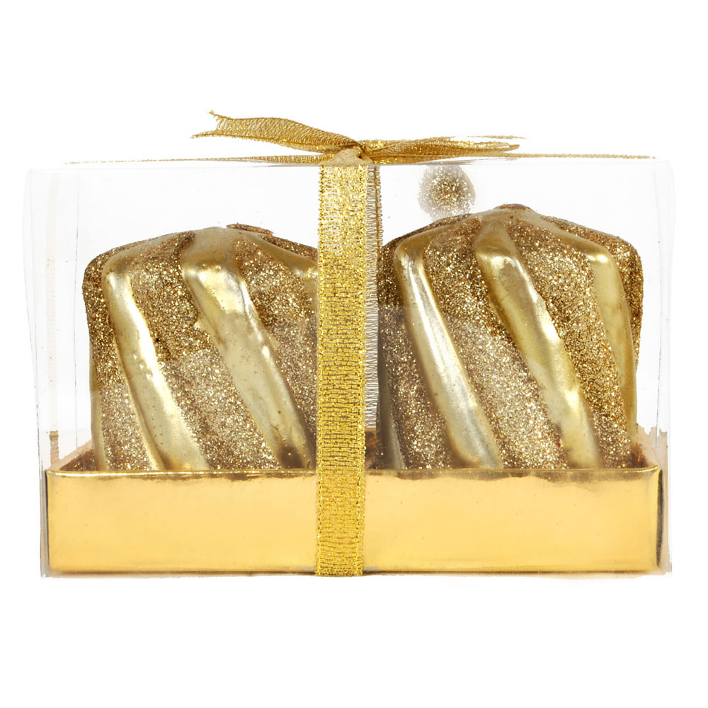 Cube shaped golden decorative candle pair