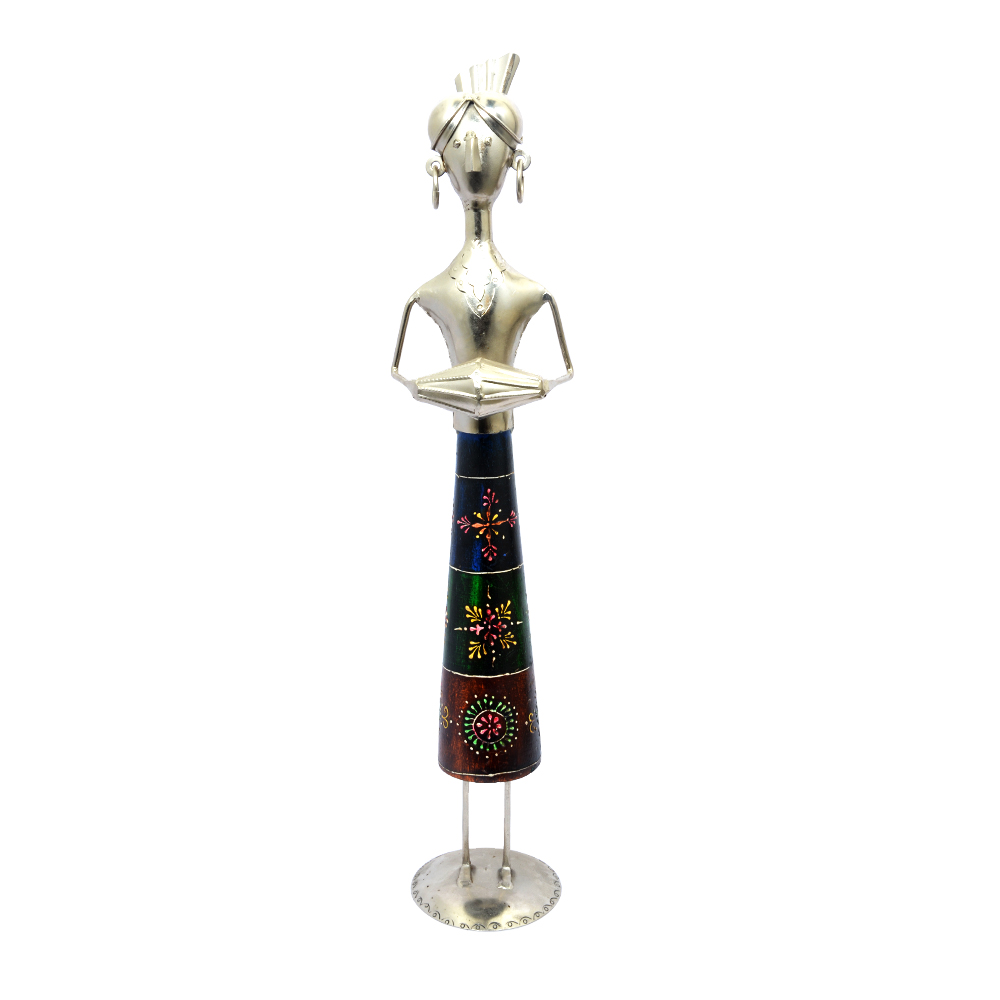 Decorative Female Musician Statue Playing Instruments with Antique Embossed Work in Metal & Wood