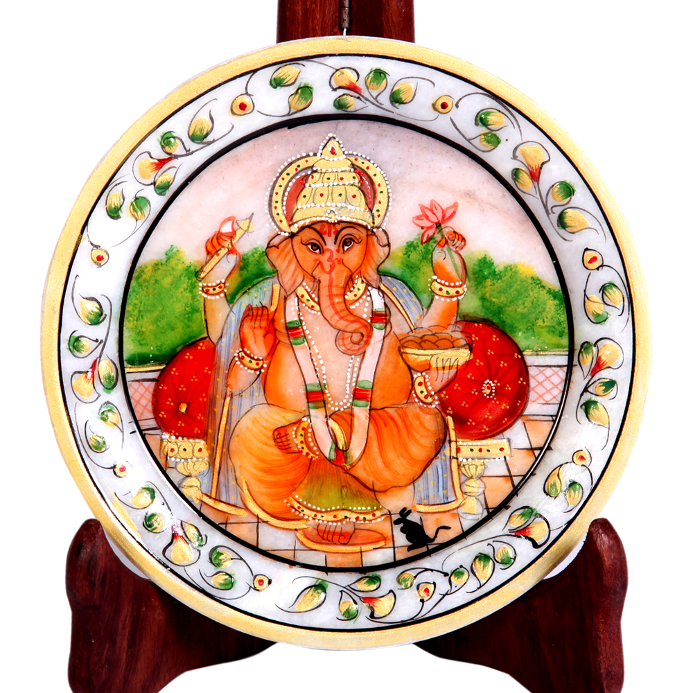 Decorative Marble Plate with Ganesh Figure