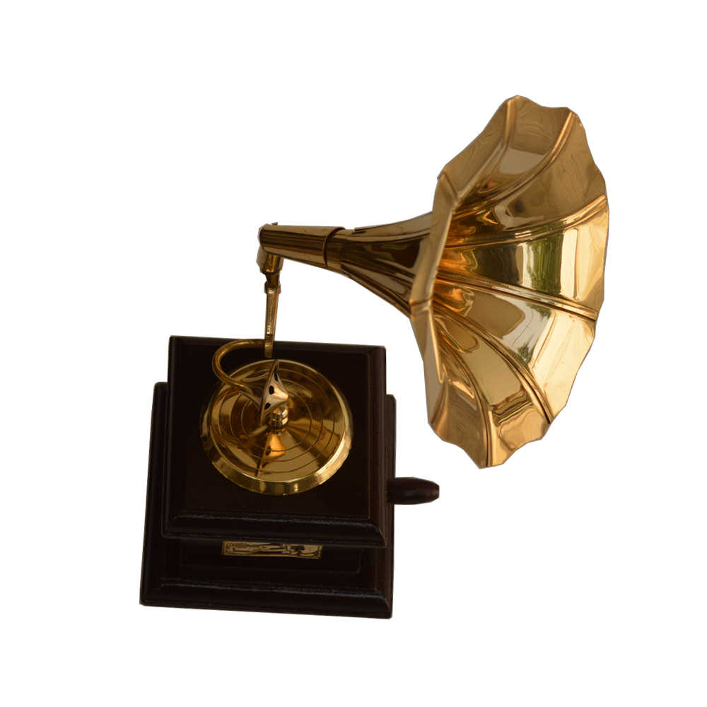 Decorative Miniature Gramophone in Wood and Brass