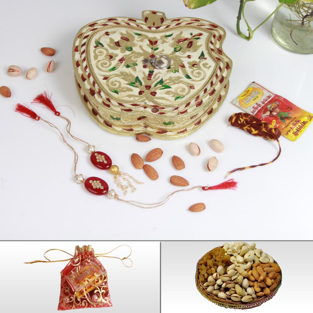 Designer Rakhi & Lumba With Dry Fruits In An Apple Shaped Meenakari Box
