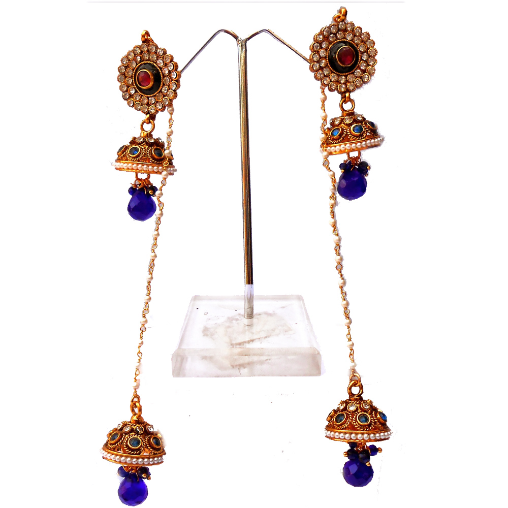 Designer blue jhumki earrings