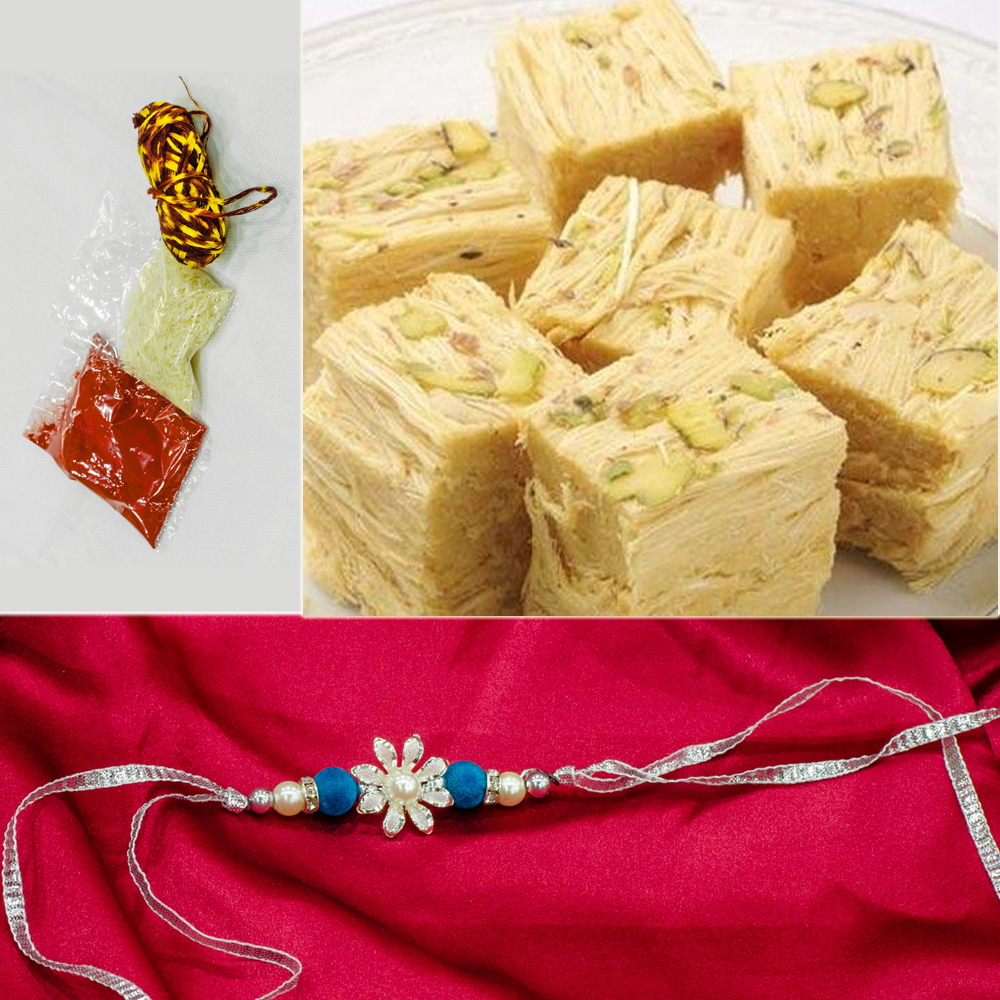 Designer floral rakhi for brother with delicious sweets