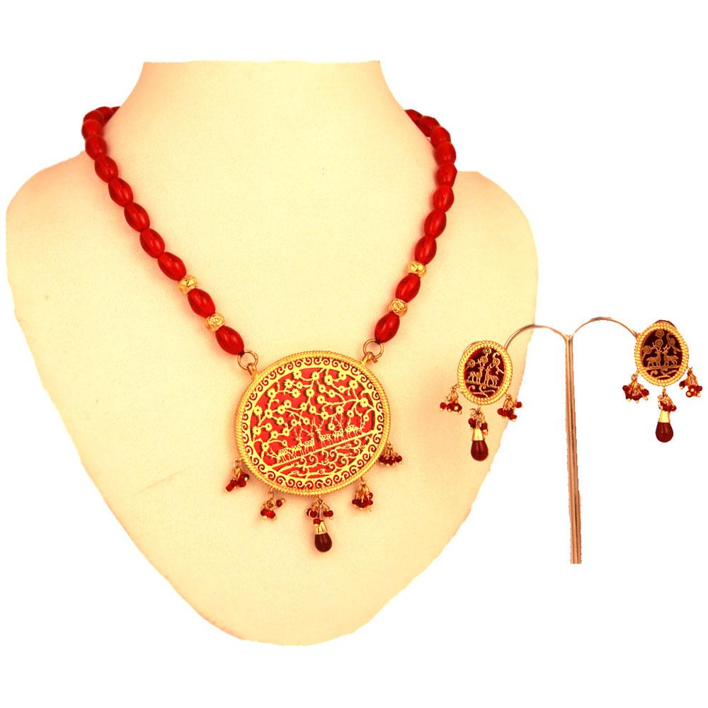 Designer thewa red pendant set with hanging balls