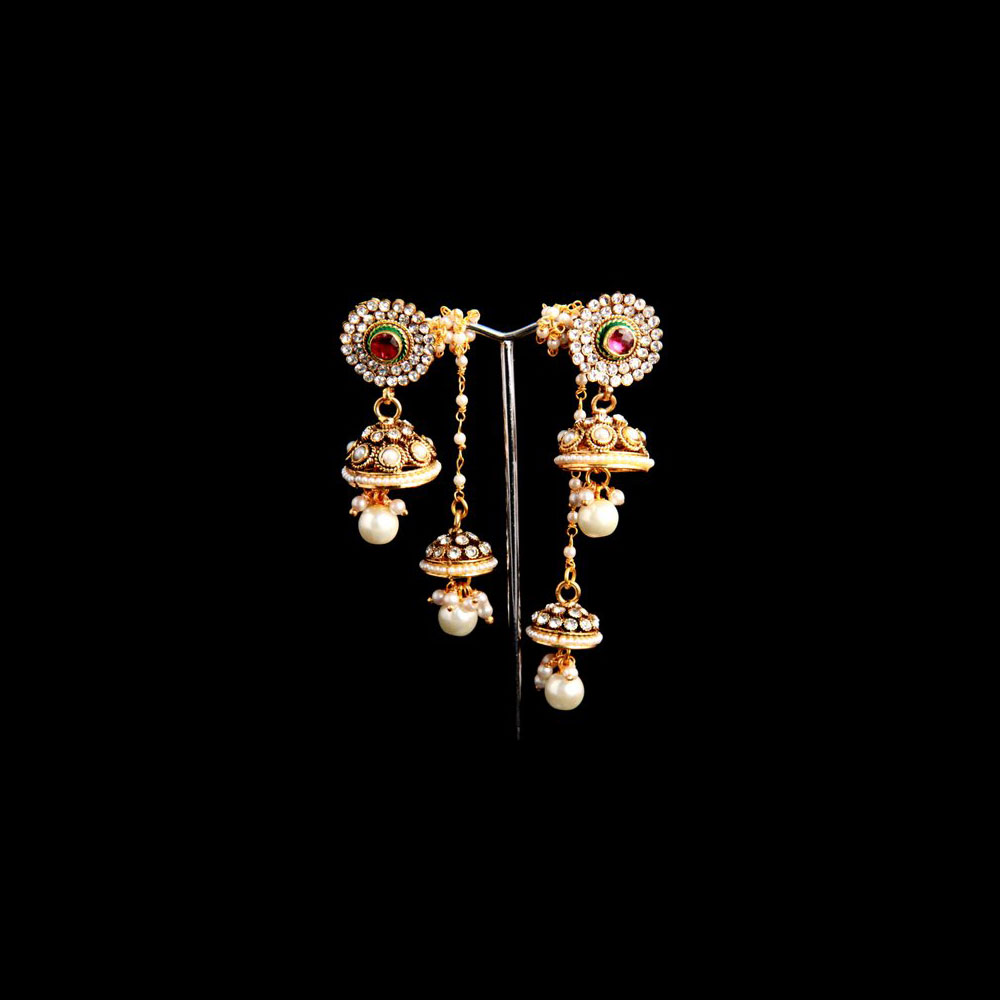 Double hanging traditional earrings