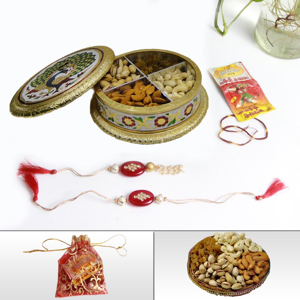 Elegant Bhaiya Rakhi With Dry Fruits & Handcrafted Meenakari Box