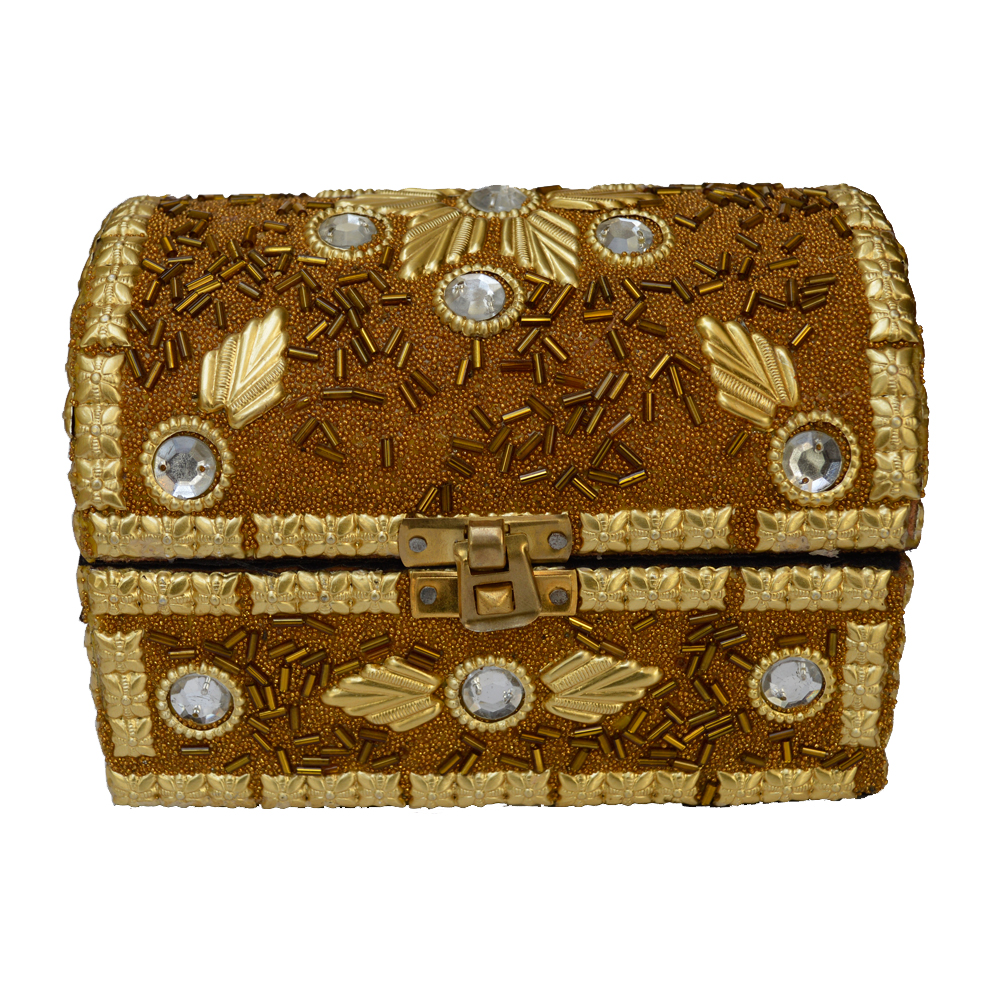Handcrafted wood jewelry boxes - Wooden Jewellery Box Pitari With Embedded Stones