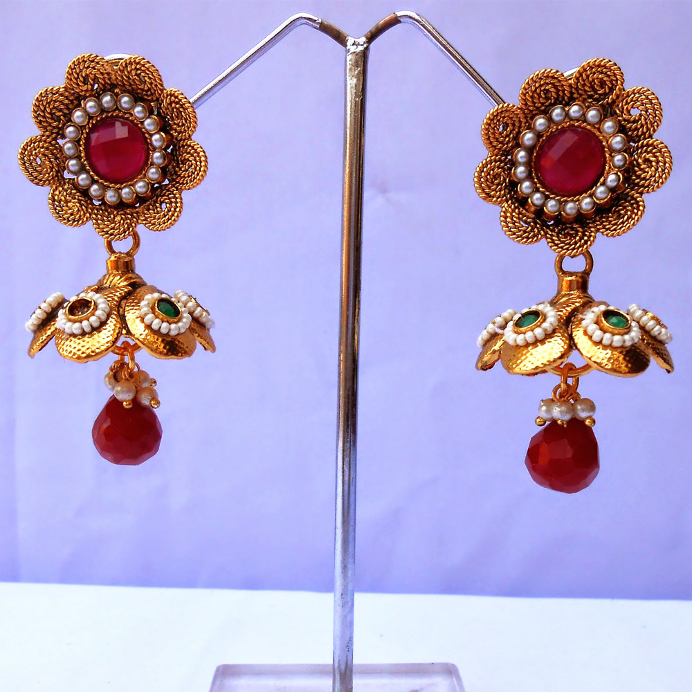 Floral design jhumki earrings