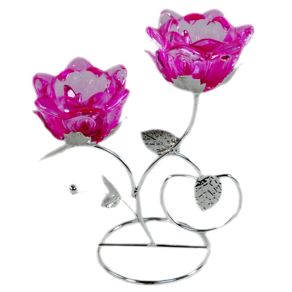 Flower shaped metal candle