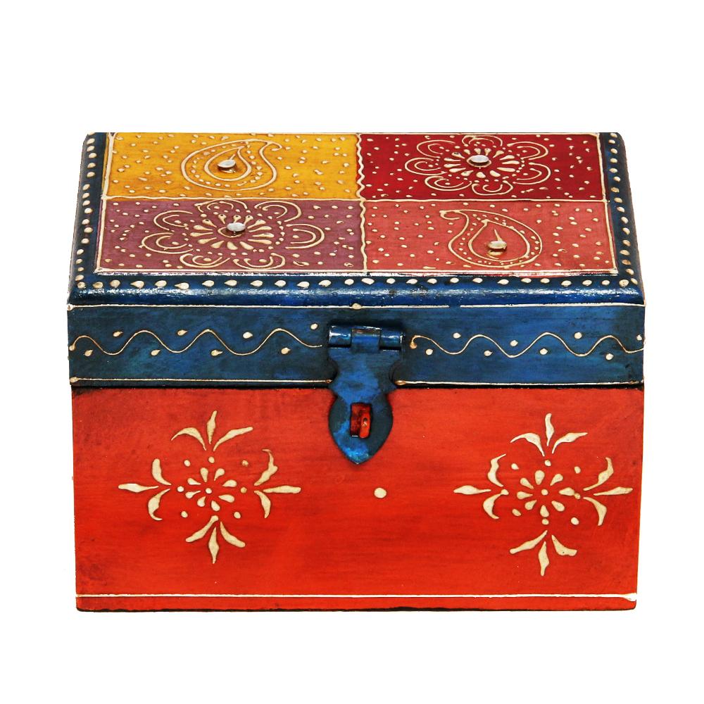 Handmade Multicolor Embossed Wooden Box