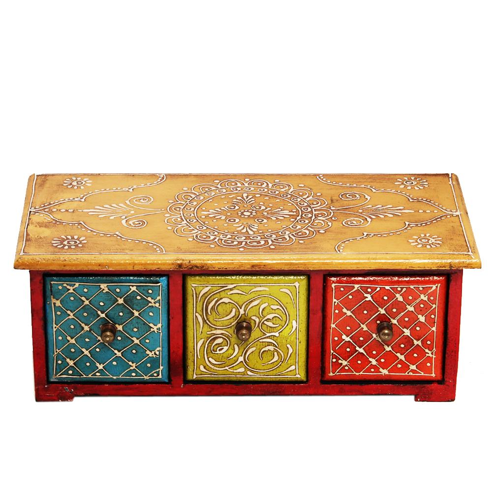 Multicolor Horizontal Three Drawer Embossed Box in Wood