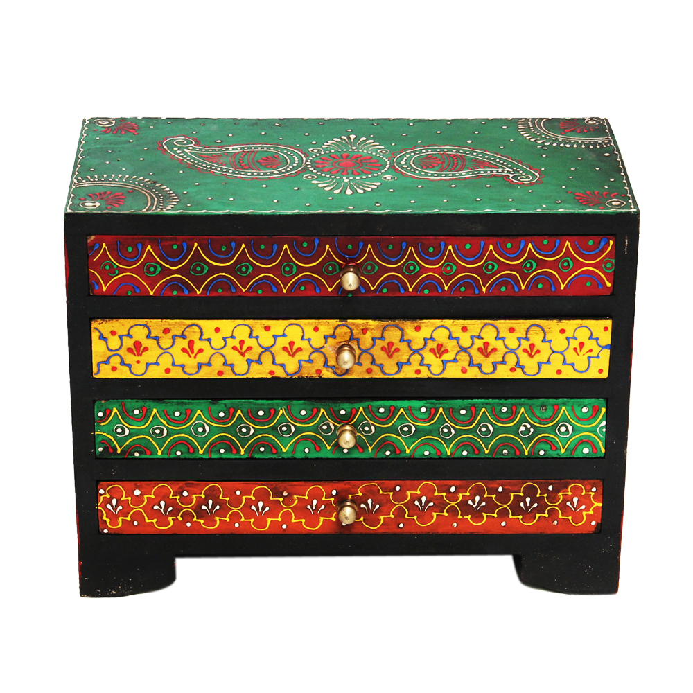 Horizontal Embossed Multicolor Wooden Box in Multicolor