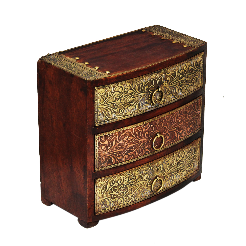 Wooden Three Drawer Box with Brass Work