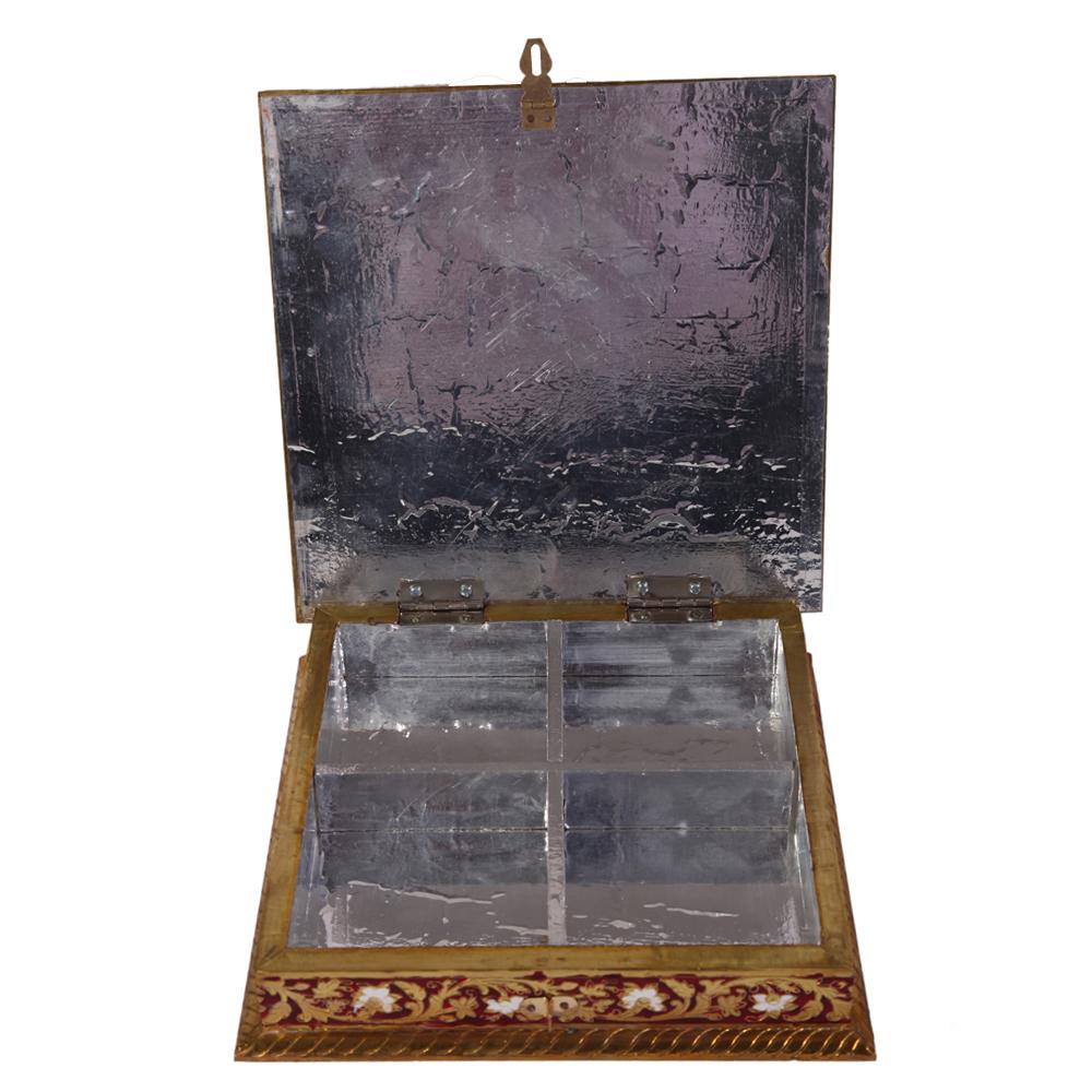 Metal Sheet on Wood Dryfruit Box with Meenakari Work