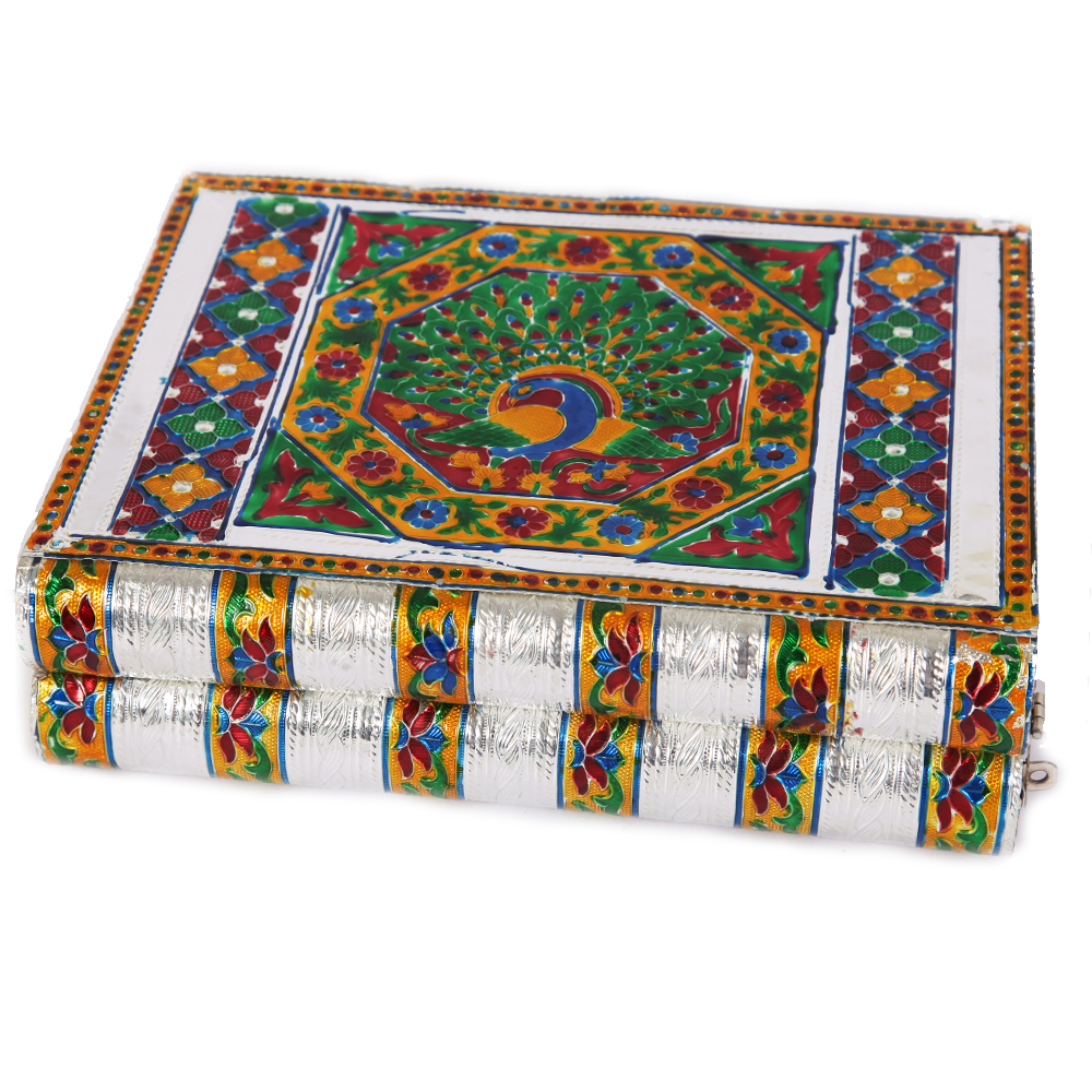 Metal Sheet on Wood Jewellery Box with Meenakari Work