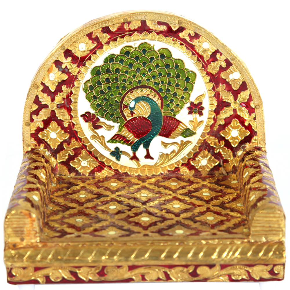 Metal Sheet on Wooden Singhasan with Peacock Design Meenakari Work