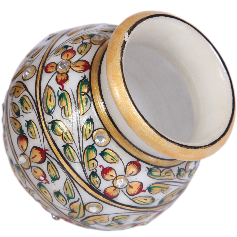 Decorative Marble Matki with Floral Design Work