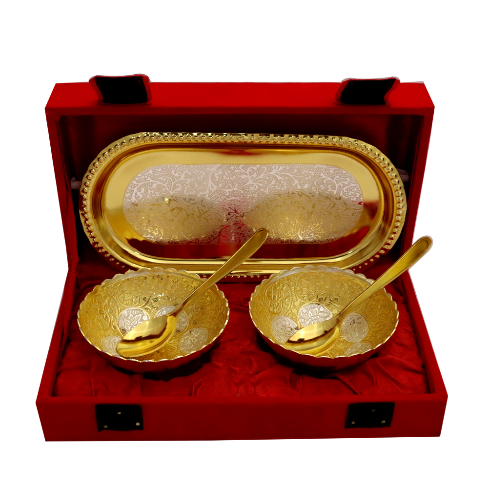 German Silver 2 Tone Round Bowl & Tray Set with 2 Spoons