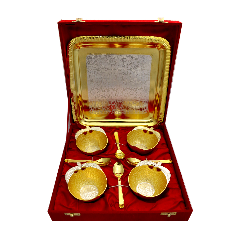 German Silver 2 Tone 4 Apple Shaped Bowls & Tray Set with 4 Spoons