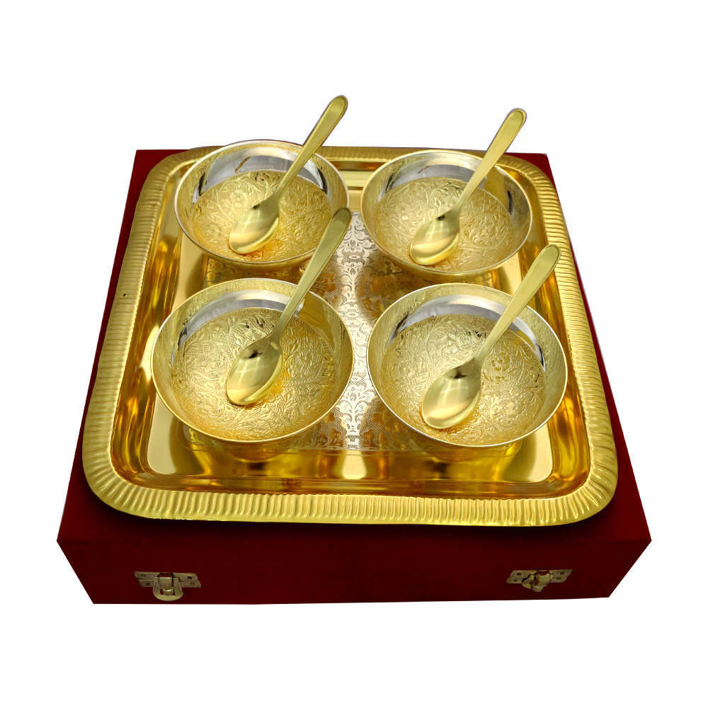 Set of 4 Two Tone Round Bowls & Spoons with Tray in German Silver