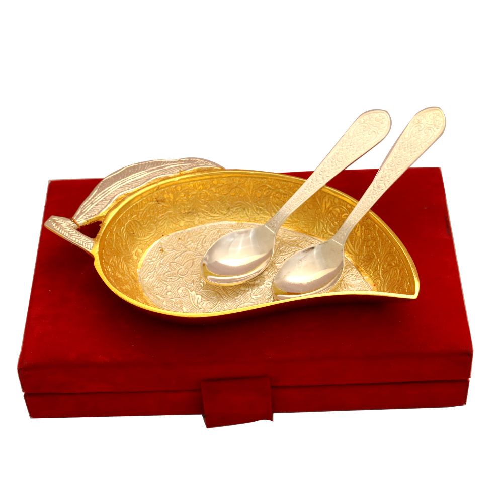 Set of Mango Shaped Serving Tray & 2 Spoons in German Silver