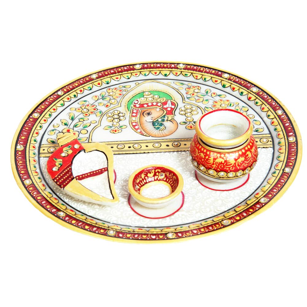 Embossed Ganesh Marble Pooja Plate