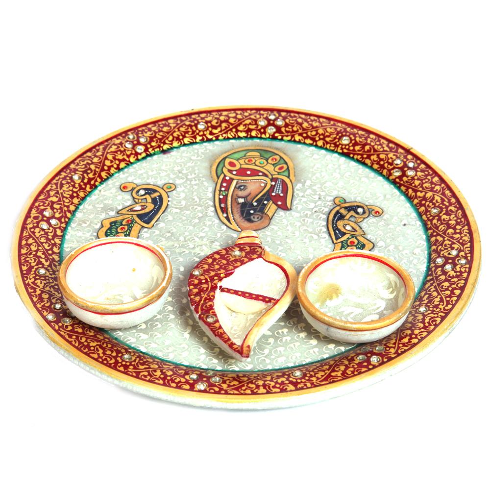 Ganesh and Peacock Engraved Meenakari Pooja Plate