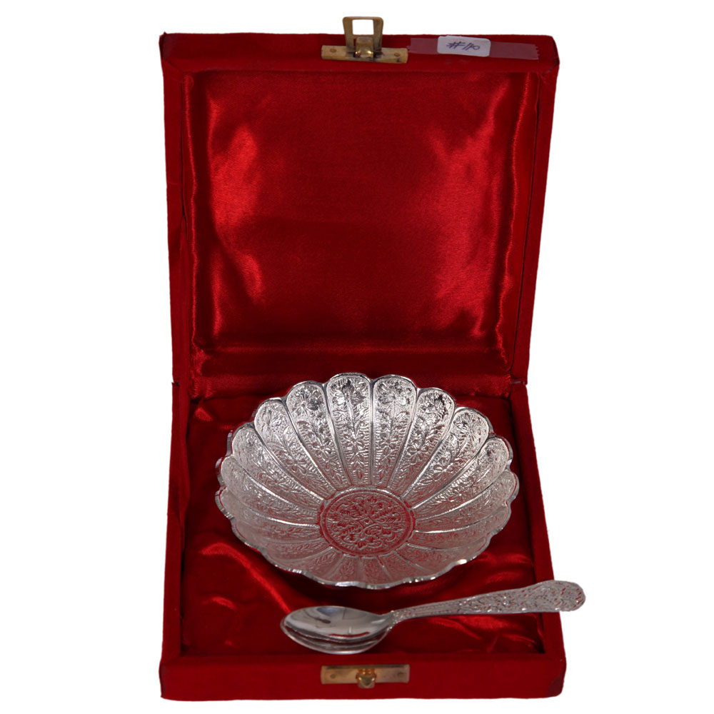 Sunflower shaped german silver serving plate