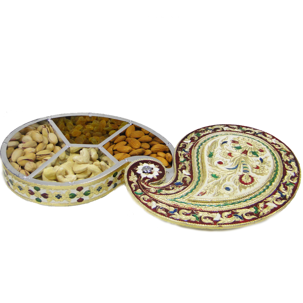 Excuisitely shaped gift box with wooden base and meenakri brass lid