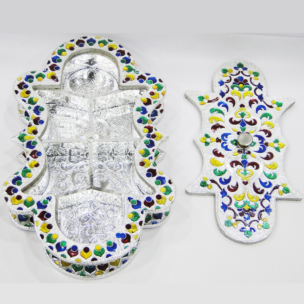 Excuisitely shaped gift box with wooden base with meena work