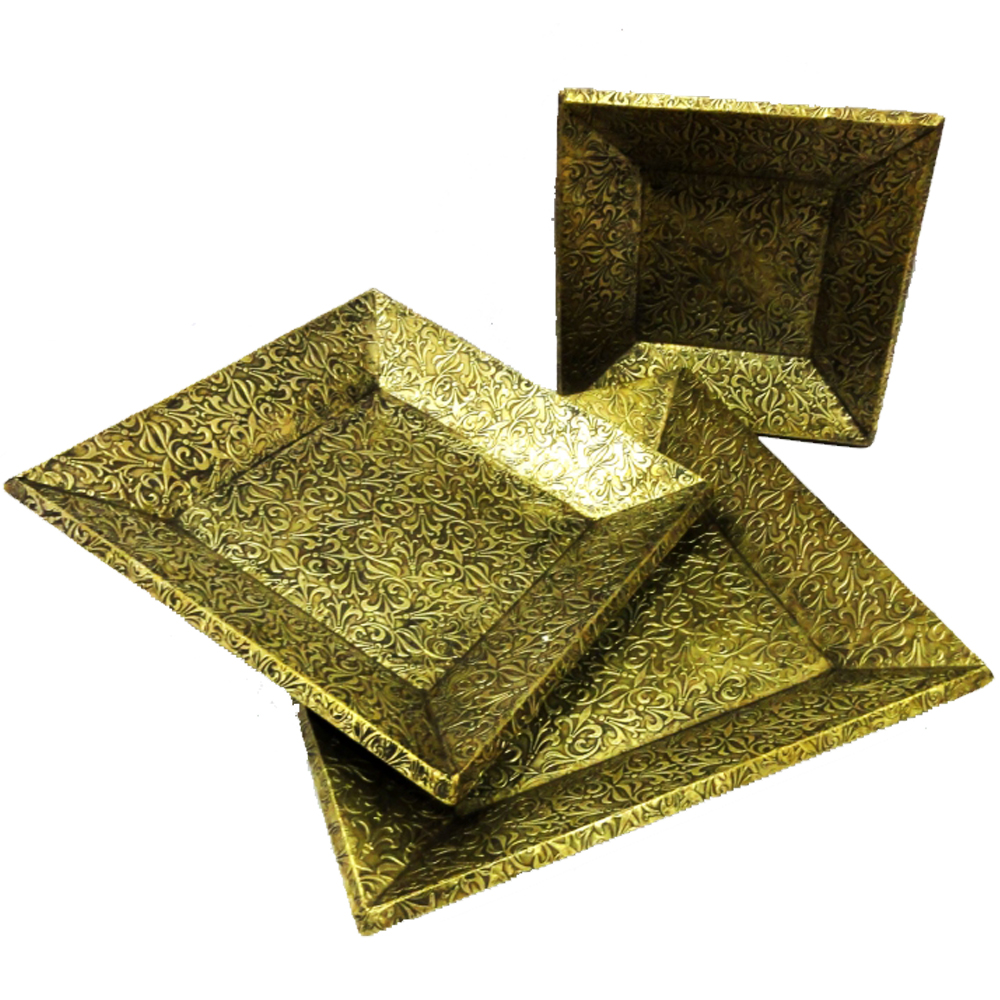 A set of three elegant trays with wooden base and brass covering